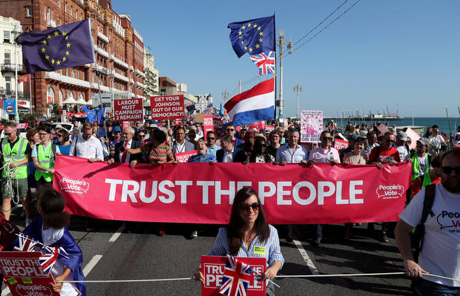 People's Vote supporters on a march at the Labour Party Conference