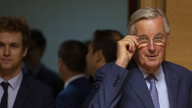 European Union chief Brexit negotiator Michel Barnier, right