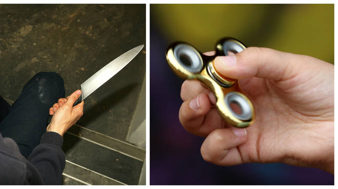 A weaponised fidget spinner is among some off the weapons brought to schools