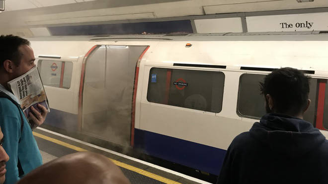 The Bakerloo Line train appeared to be filled with smoke. Picture: Tom Singer