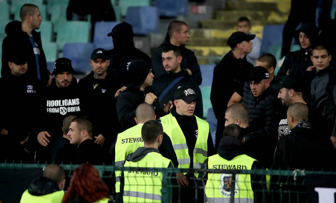 Stewards amongst Bulgaria fans in the stands during the UEFA Euro 2020 Qualifying match at the Vasil Levski National Stadium, Sofia, Bulgaria.