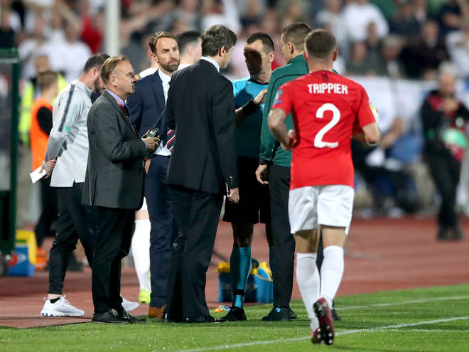 England manager Gareth Southgate (second left) and match referee Ivan Bebek (third right) during Monday's match