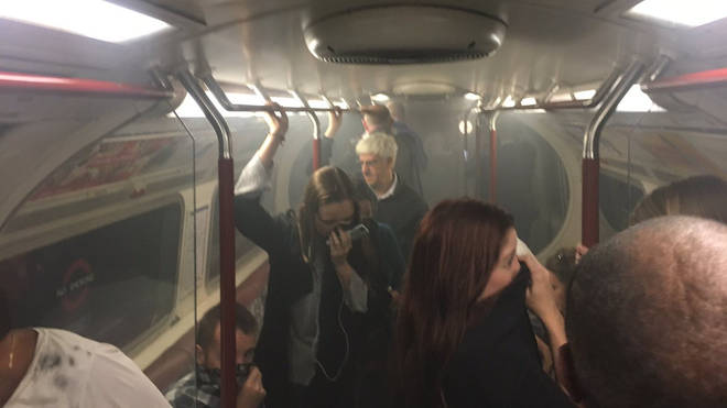 Pictures shows the carriage full of smoke. Picture: Joe Bunting