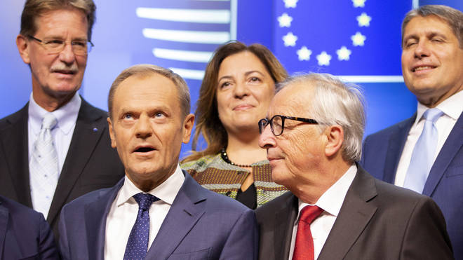 European Commission President Jean-Claude Juncker, second right, and European Council President Donald Tusk, second left