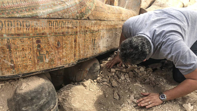 The colours on the coffins have been beautifully preserved