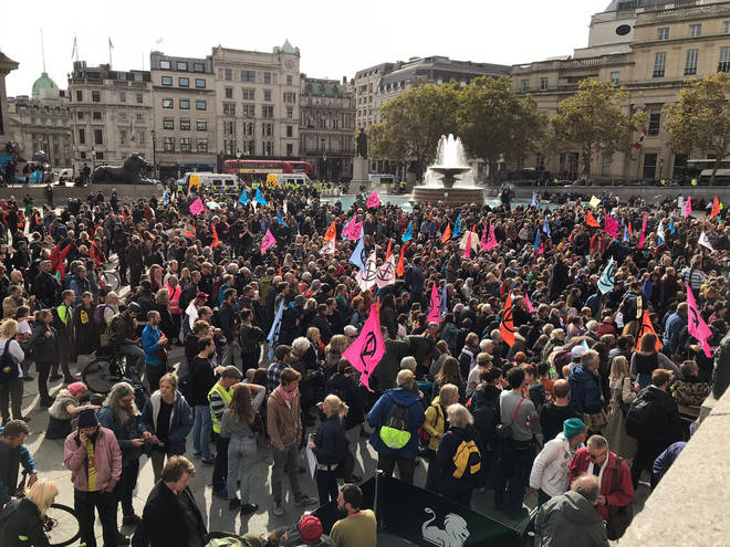 "Extinction Rebellion have said there is a ""huge presence"" of protestors"