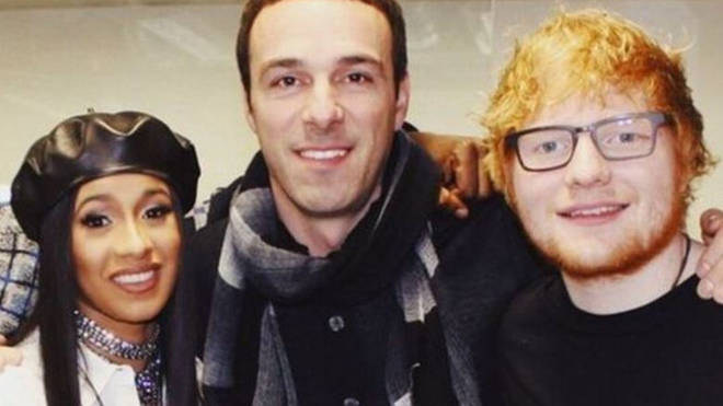 "Ben Cook, pictured with Ed Sheeran and Cardi B, has resigned from Atlantic Records over an ""offensive"" outfit he wore seven years ago"