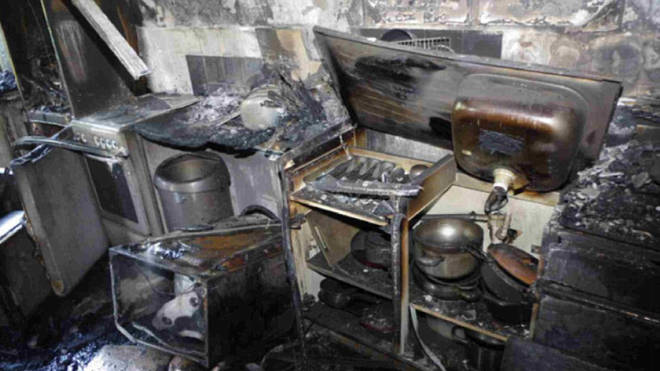 The kitchen in flat 16 of Grenfell Tower