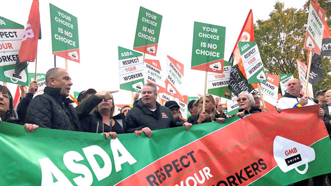 Asda workers marching in the centre of Leeds today