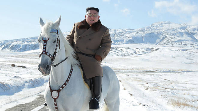 Kim Jong Un pictured on horseback