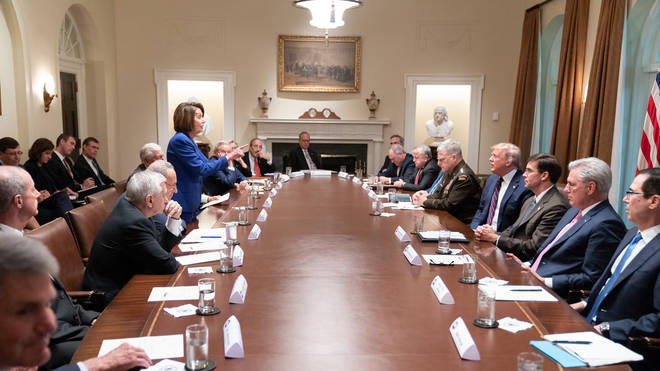 """The picture Donald Trump claims showed Nancy Pelosi having an """"unhinged meltdown"""""""
