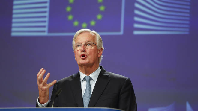 The EU's chief negotiator Michel Barnier speaking after the deal was announced