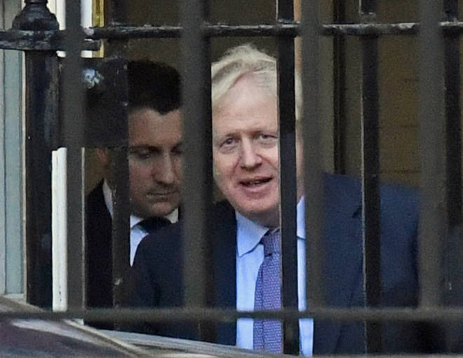Mr Johnson seen leaving Downing Street via the back door on his way to Brussels this morning