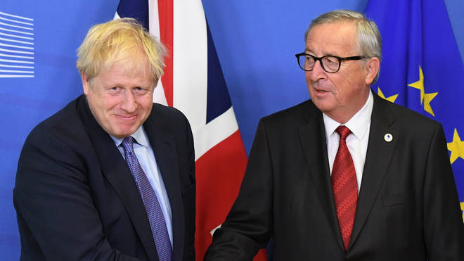 Jean-Claude Juncker pictured with Boris Johnson