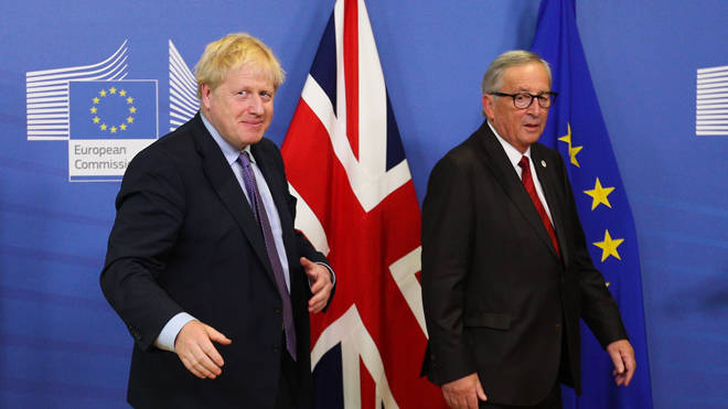 Boris Johnson and Jean-Claude Juncker in Brussels today