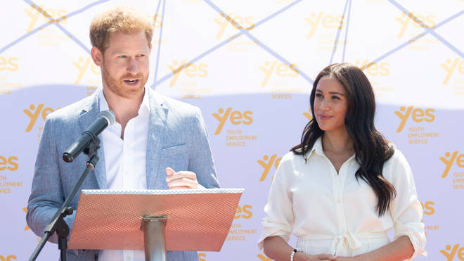 The Duke of Sussex makes a speech during a visit to Tembisa township near Johannesburg