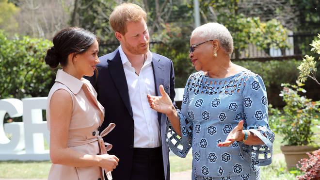 The Royal couple meet Graca Machel, widow of the late Nelson Mandela
