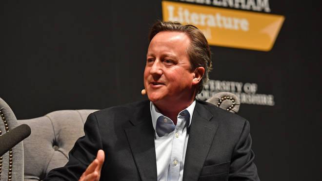 David Cameron speaking at the Cheltenham Literature Festival