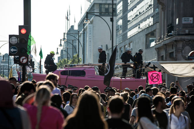 Extinction Rebellion used a pink boat on Oxford Circus to traffic in April