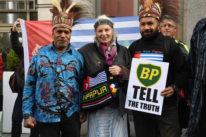 Free West Papua leader Benny Wenda, Dame Vivienne Westwood, and Free West Papua spokesperson Raki Ap outside the head office of BP