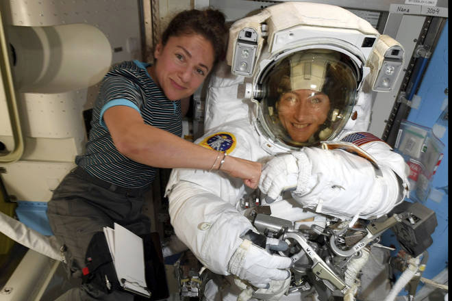 The women have been sent on a mission because because of a power system failure at the International Space Station
