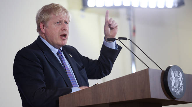 Boris Johnson speaks during the European Council Summit in Brussels