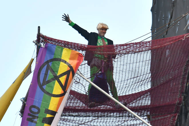 An Extinction Rebellion protester climbed the Elizabeth Tower in Westminster