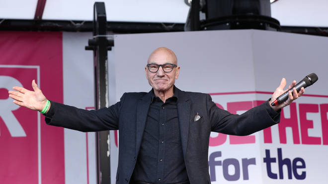 Sir Patrick Stewart praised protesters for keeping the People's Vote alive