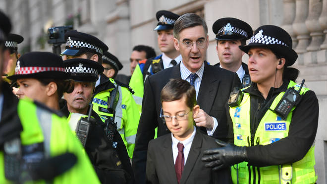 Jacob Rees-Mogg and his son required a police escort whilst walking home