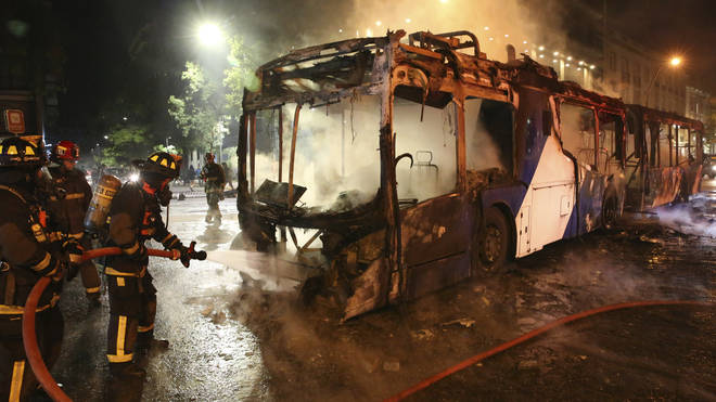 Young people attacked police vehicles and set a bus on fire