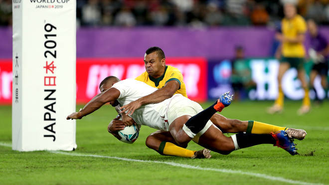England's Kyle Sinckler (bottom) scores his team's third try during the 2019 Rugby World Cup Quarter Final