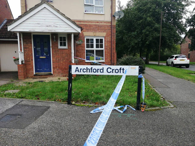 Police remain at the scene in Archford Close
