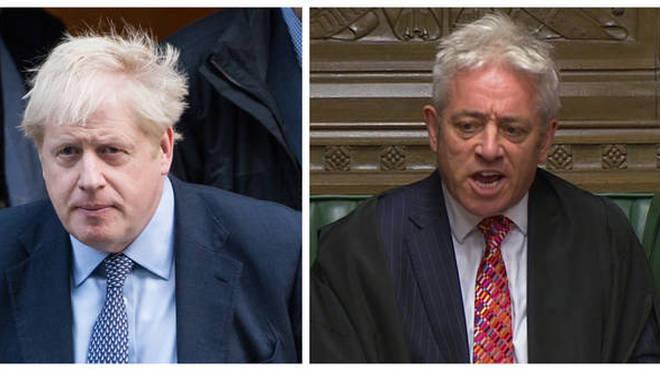 Boris Johnson (left) and Speaker John Bercow