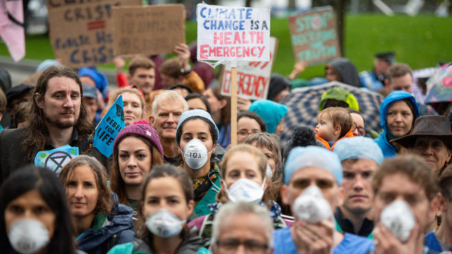 Extinction Rebellion protesters demonstrate against air pollution levels in London