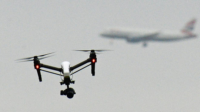 File photo of a drone flying in Hanworth Park in west London