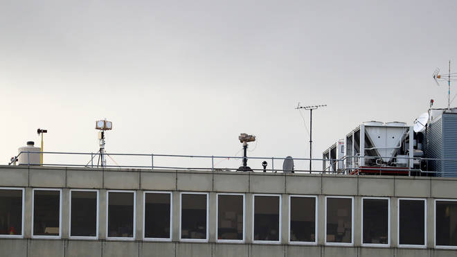 Counter drone equipment deployed on a rooftop at Gatwick airport