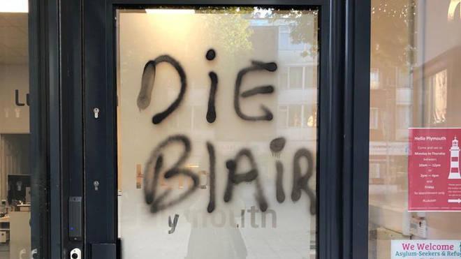 The graffiti daubed on the door of MP Luke Pollard's office