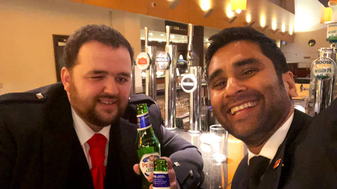 The two campaigners were sharing a beer at the bar