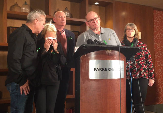 Harry Dunn's parents at a press conference in New York