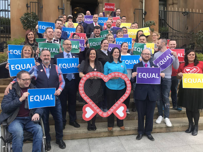 Same-sex couples and campaigners in Northern Ireland celebrated at the Merchant Hotel in Belfast on Monday