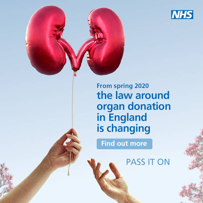 A poster from an NHS campaign that has been launched to increase awareness of the upcoming change to organ donation law.