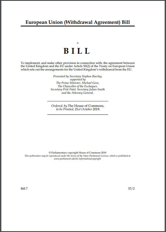 A page taken from the governments draft of the Withdrawal Agreement Bill.