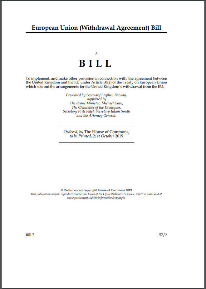A page taken from the governments draft of the Withdrawal Agreement Bill