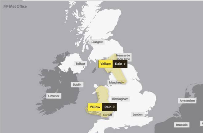 The Met Office have issued a yellow weather warning