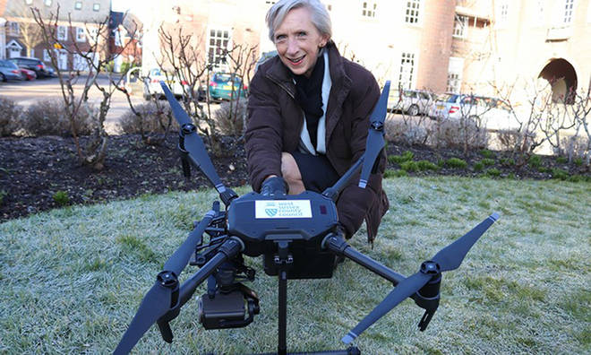West Sussex County Council's Louise Goldsmith in February 2018 with the new drone