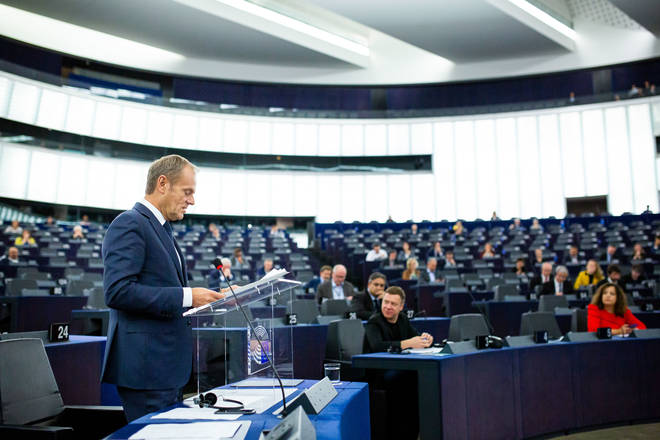 Donald Tusk addresses the European Parliament during the debate on the outcome of the meeting of EU leaders