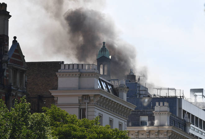 Over 100 firefighters are at the scene of the blaze in Knightsbridge