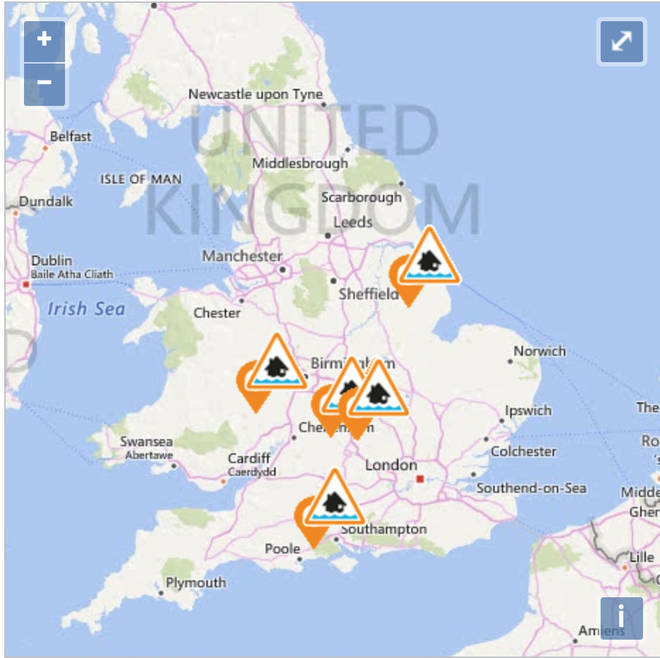 Flood warnings have been issued to areas across the UK