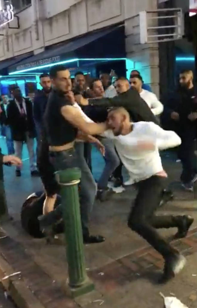 The fight was filmed outside a Birmingham takeaway in the early hours of Sunday