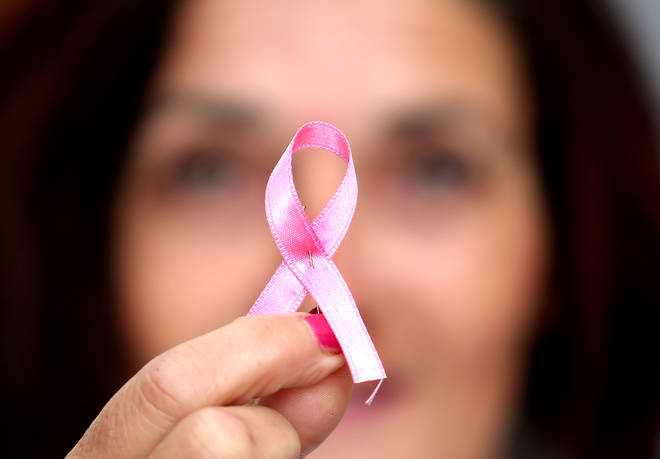 A pink ribbon is seen during a Pink Ribbon breast cancer campaign